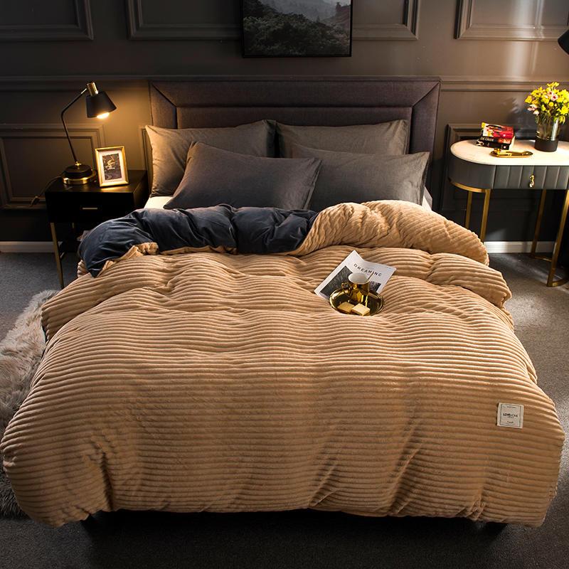 Coral fleece bedding set; Milk Flannel Duvet Cover (13)